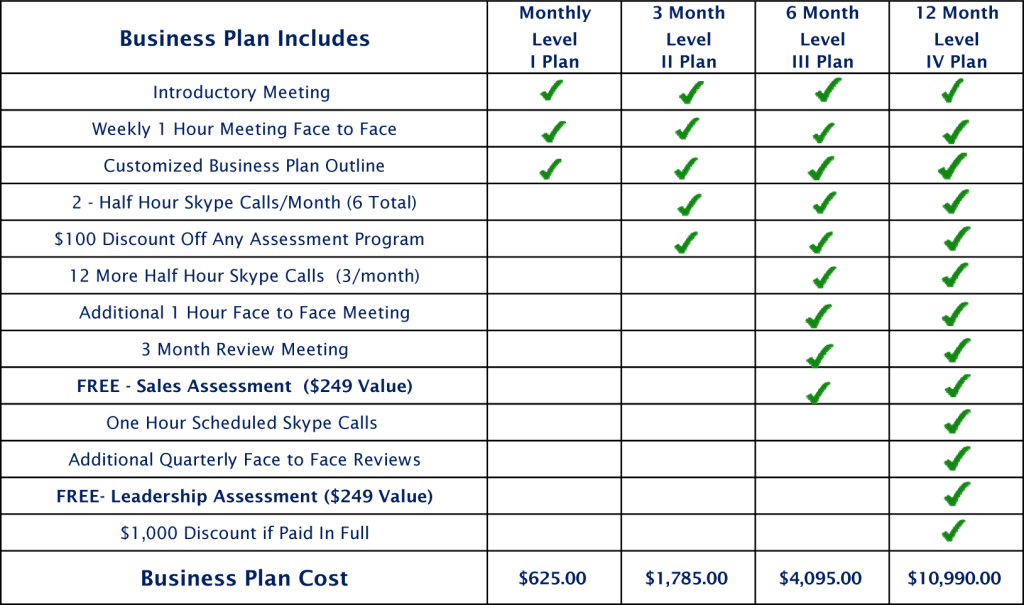 price in business plan